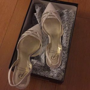 White kitten heel great for wedding prom party